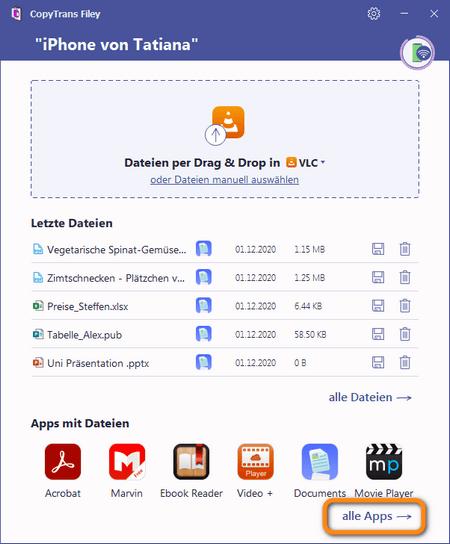 alle Apps in CopyTrans Filey zeigen
