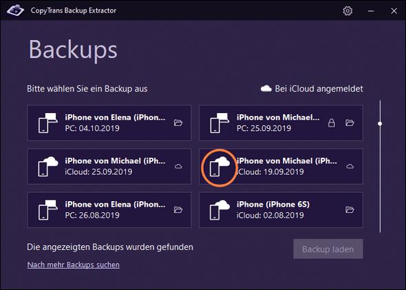 iCloud Backup im Programm bezeichnet