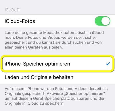 die Option iPhone Speicher optimieren aktivieren