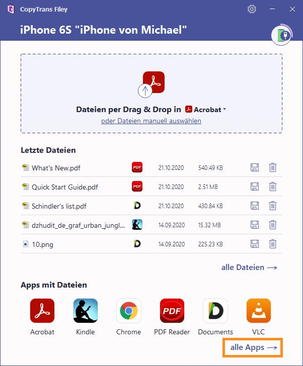 Alle Apps auswählen und Liste mit Apps öffnen