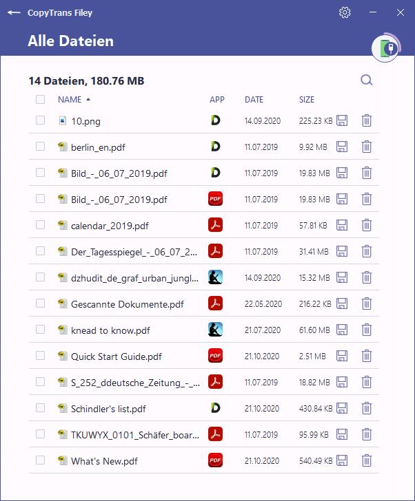 Liste von allen Dateien