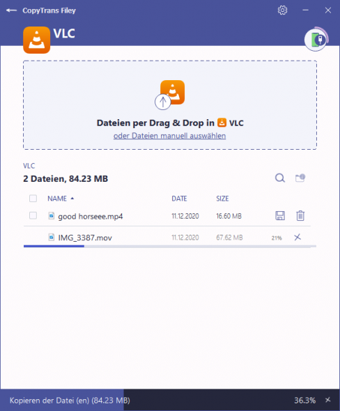 Kopiervorgang in CopyTrans Filey