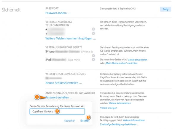 Anwendungsspezifische Passwörter erstellen