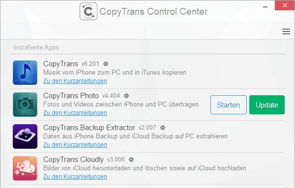 CopyTrans Programm aktualisieren