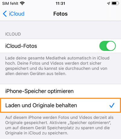 iCloud Fotos laden