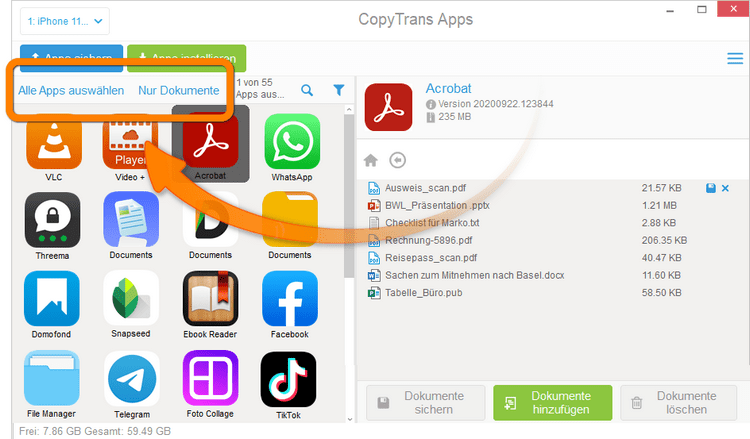 Alle iPhone Apps in CopyTrans Apps