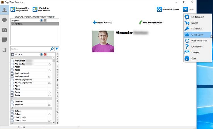 In CopyTrans Contacts Feld - Mehr, Cloud Setup auswählen