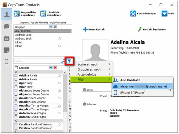 Filter in CopyTrans Contacts und iPhone doppelte Kontakte beseitugen