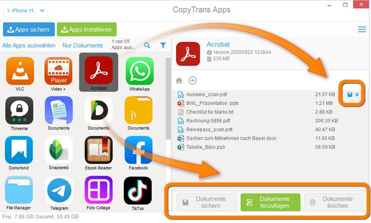 iPhone Dokumente verwalten