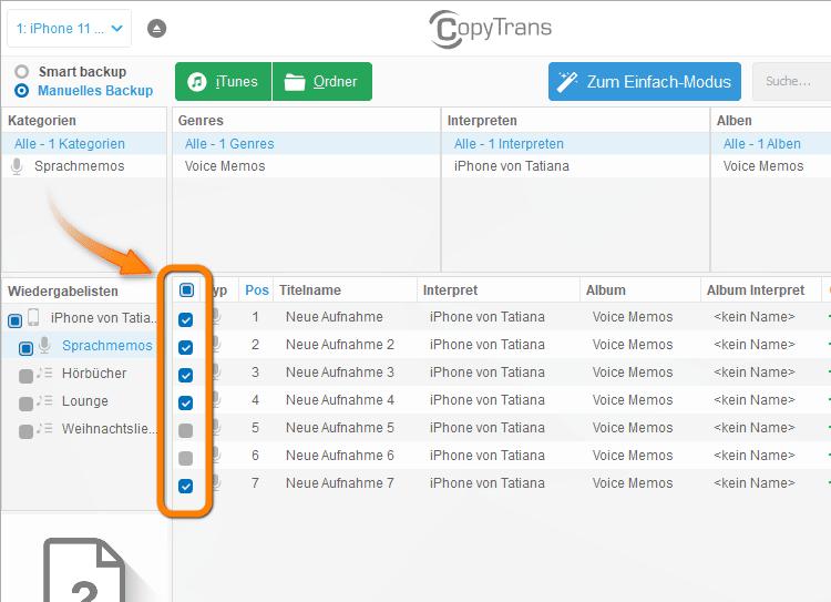 Alle oder einige Sprachmemos in CopyTrans wählen