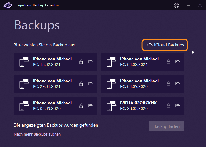 in CopyTrans Backup Extractorbei iCloud anmelden