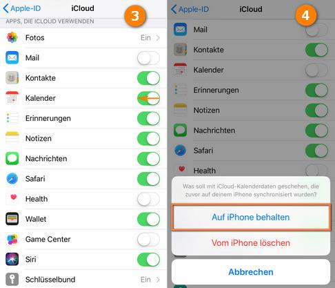 iCloud Kalender ab iOS 10.3 deaktivieren