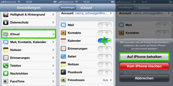iCloud Kalender deaktivieren auf iOS 10
