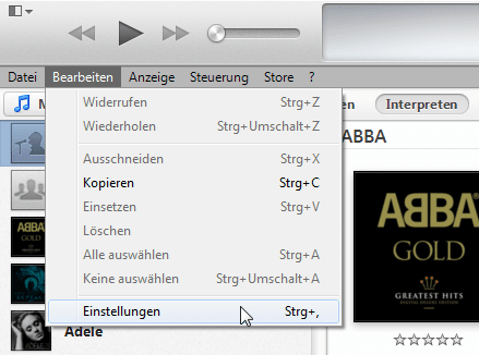 Übertragung von PC zu iTunes