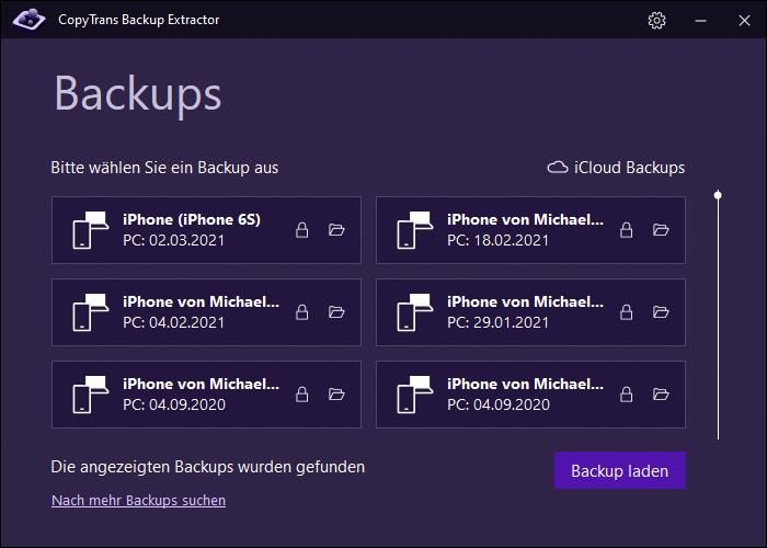 Backup im Programm am PC auswählen