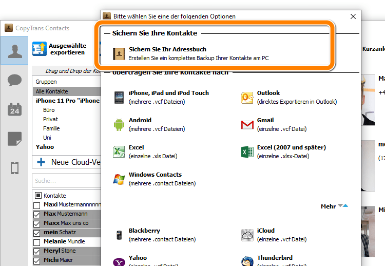 Kontakte von iPhone auf PC