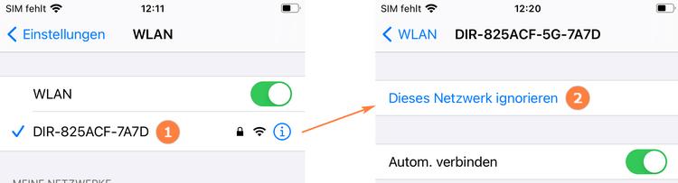 WLAN-Netzwerk am iPhone vergessen
