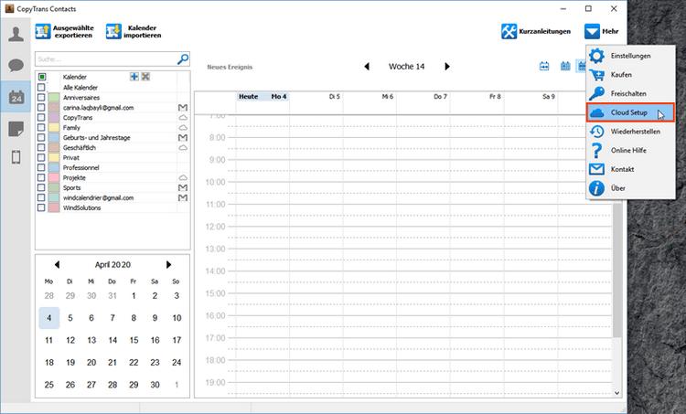 Gmail Kalender am iPhone durch Setup anzeigen