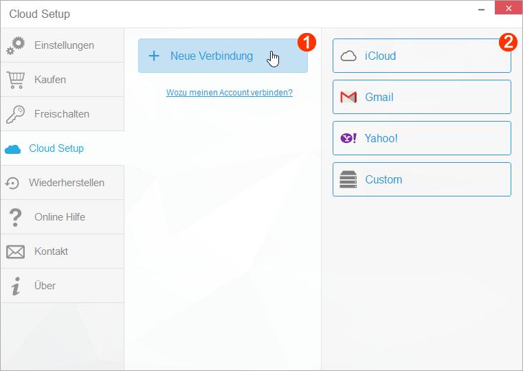 iCloud Verbindung im Programm einrichten