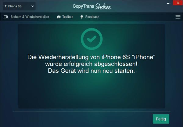 WhatsApp Wiederherstellung abgeschlossen
