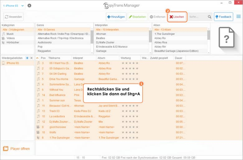 Das Löschen aller Tracks in CopyTrans Manager