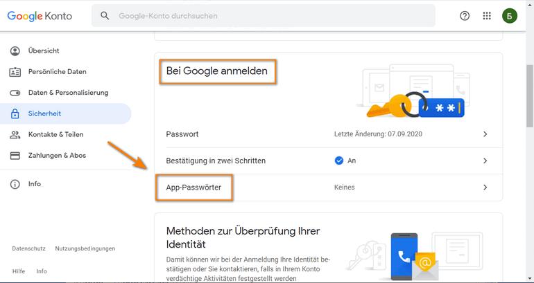 in Einstellungen bei Google-Konto CopyTrans Contacts einfügen