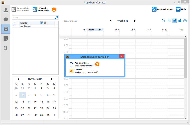 Kalender aus einer Datei zum iPhone übertragen