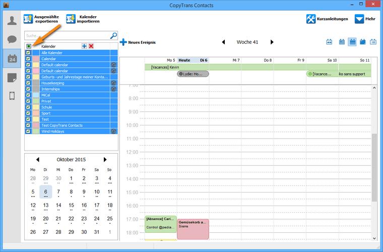 Kalenderereignisse am PC sichern