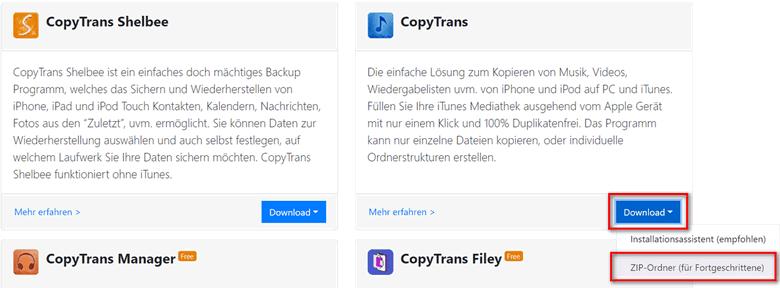 CopyTrans ZIP-Ordner herunterladen