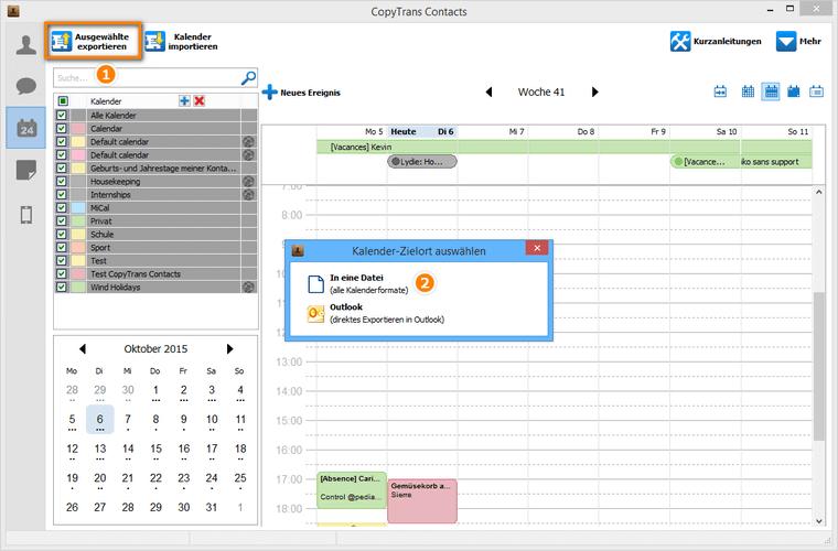 Kalender aus einer Datei auf iOS-Gerät übertragen
