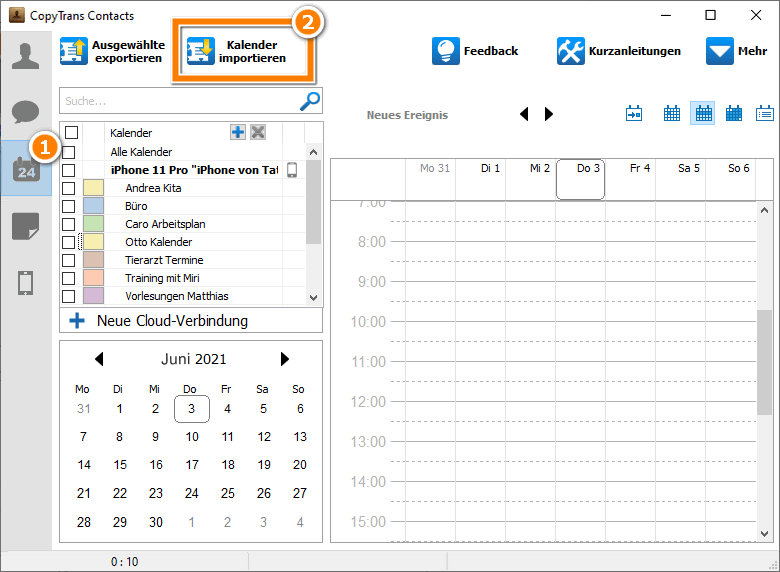 Auf Kalender impotieren drücken