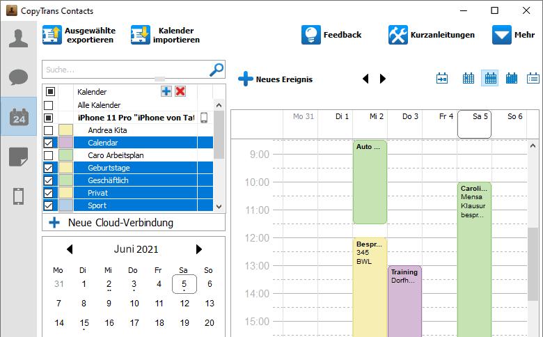 Outlook Kalender auf Handy angezeigt