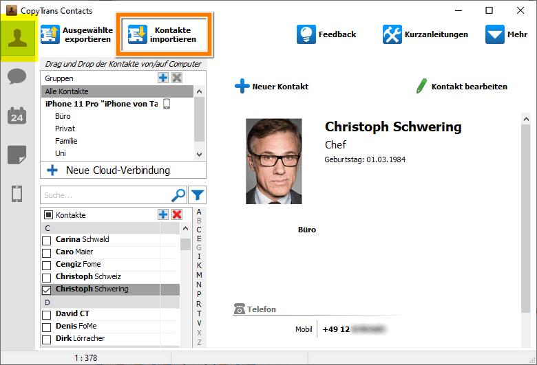 Outlook Kontakte auf iPhone importieren