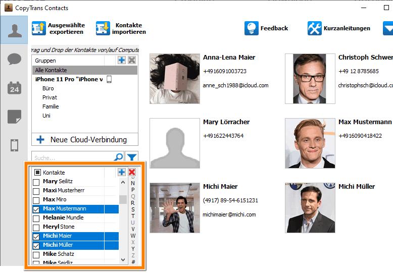 Outlook Kontakte wurden erfolgreich auf iPhone importiert