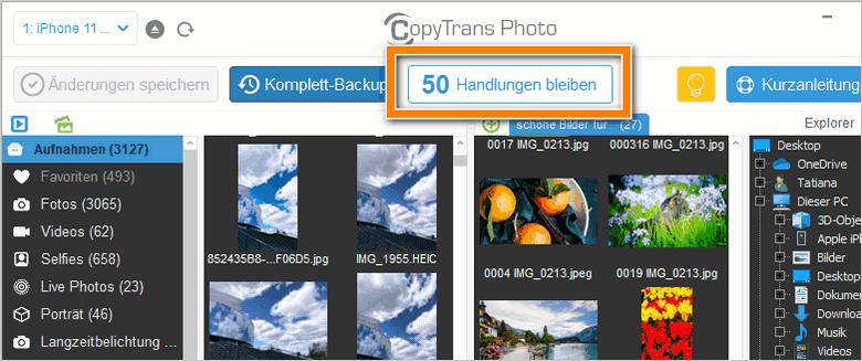 Kostenlose Handlungen in CopyTrans Photo