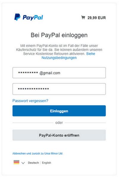 Einloggenn in PayPal Konto für die Änderung der Rechnungsadresse