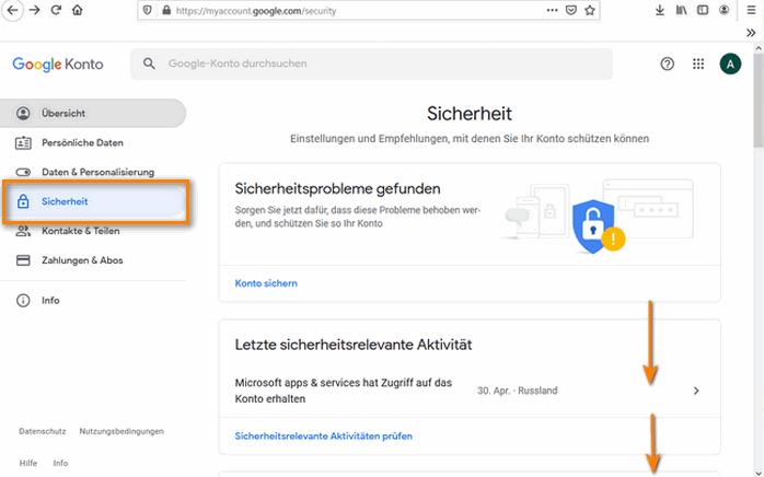 auf die Sicherheit im Google-Konto klicken