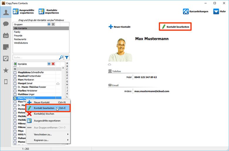 iCloud Kontakte aus dem iPhone bearbeiten
