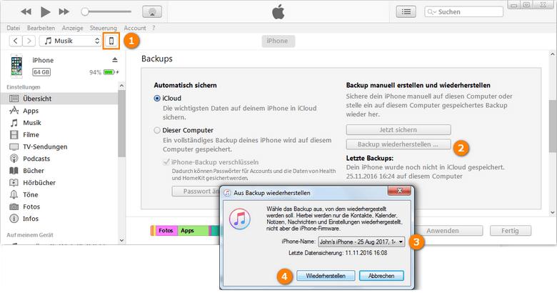 iPhone aus iTunes Backup wiederherstellen