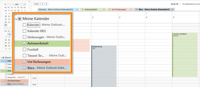 iPhone Kalender in Outlook ansehen