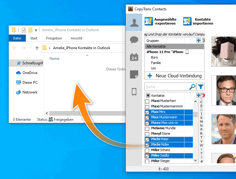 Kontakte in Outlook importieren
