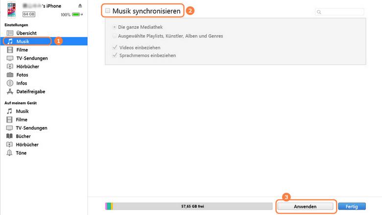 Musik mit iTunes synchronisieren