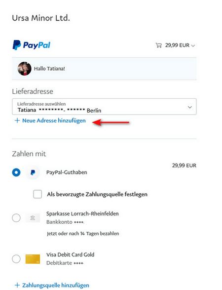 In PayPal neue Adresse hinzufügen