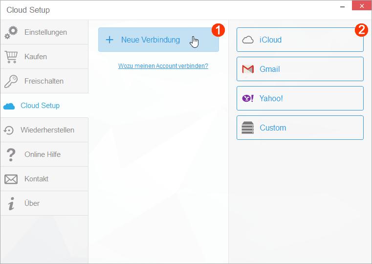 Neue iCloud Verbindung einrichten