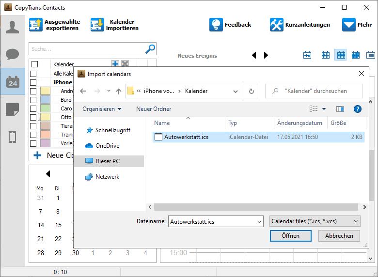 Outlook Kalender auf iPhone importiert