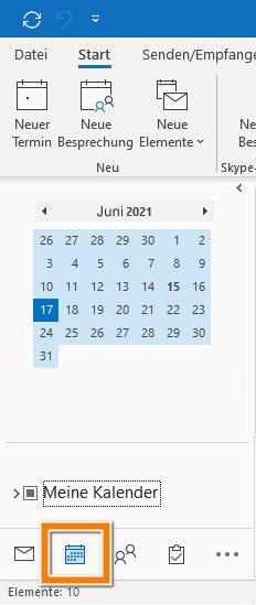 Outlook Kalender auf PC anzeigen