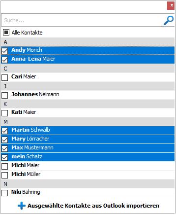 Outlook Kontakte auf iPhone markieren