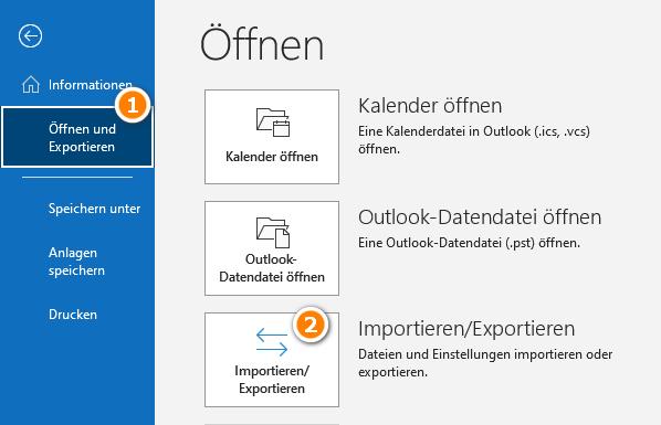 Outlook Kontakte importieren