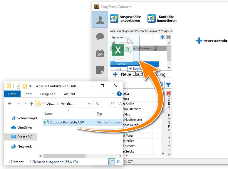 Kontakte von Outlook auf iPhone