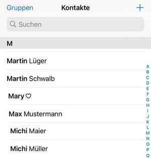 Outlook Kontakte auf iPhone anschauen